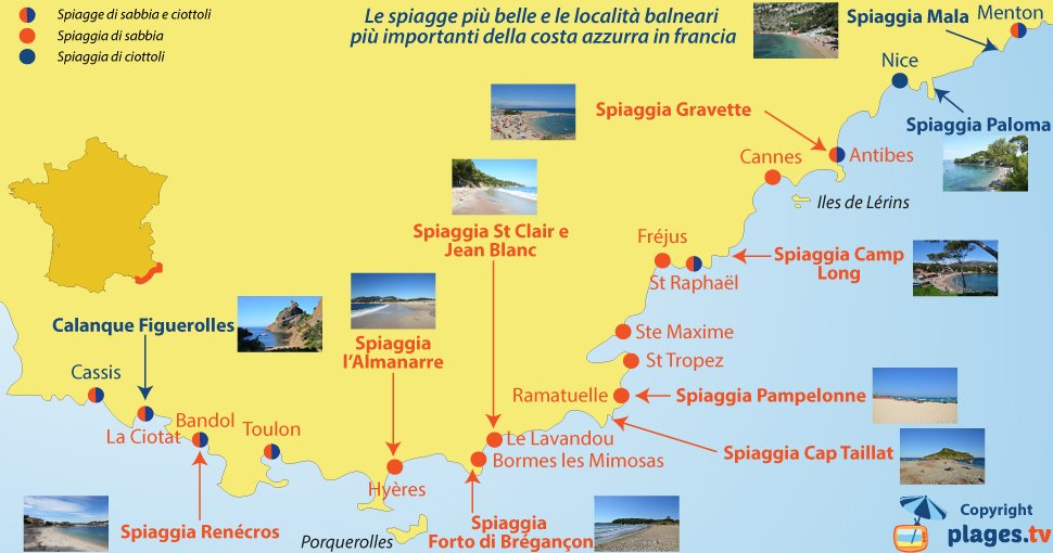 Cartina Stradale Costa Azzurra.Le Spiagge Piu Belle E Le Localita Balneari Piu Importanti Della Costa Azzurra Francia