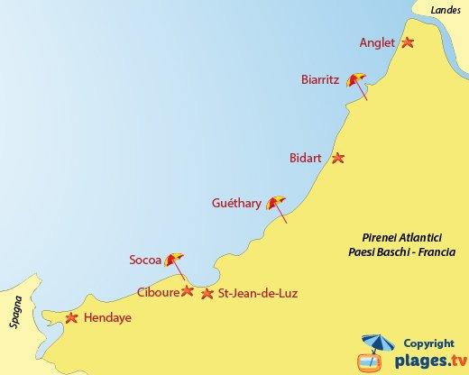 Mappa spiagge e località balneari in Pirenei Atlantici - Paesi Baschi - Francia
