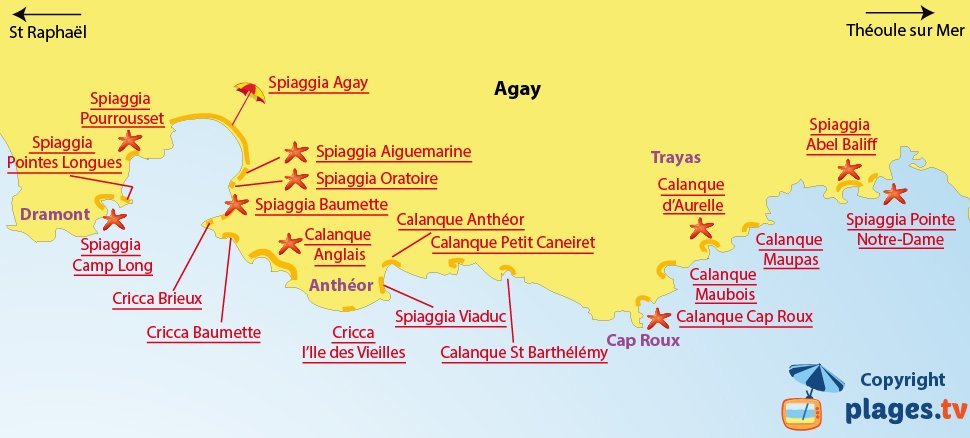 Mappa spiagge a Agay in Francia