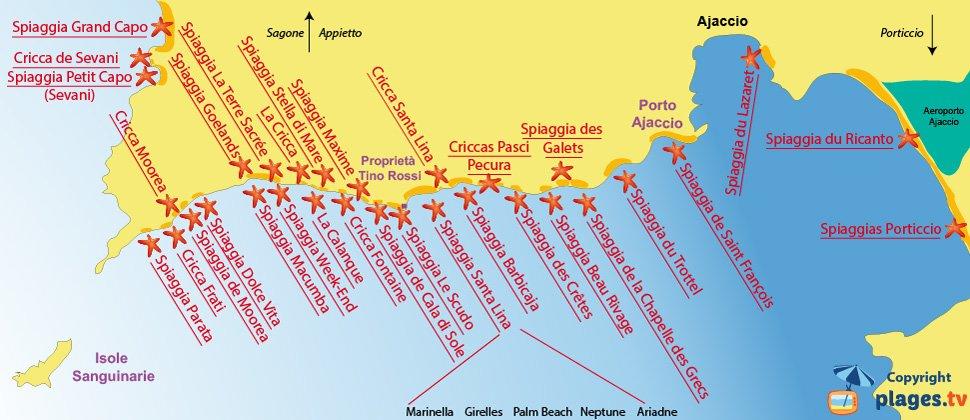 Mappa spiagge Ajaccio - Corsica
