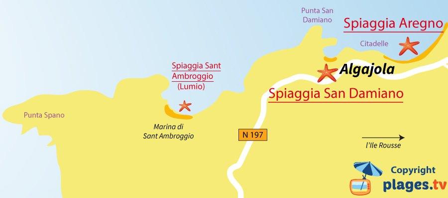 Mappa spiagge di Algajola in Corsica