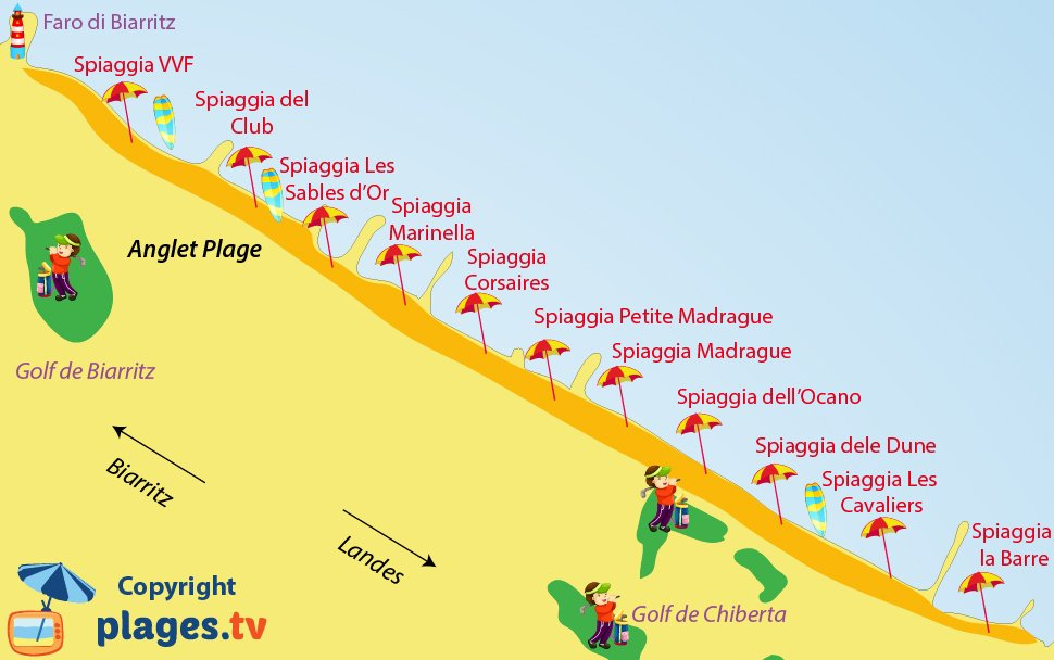 Mappa spiagge a Anglet in Francia