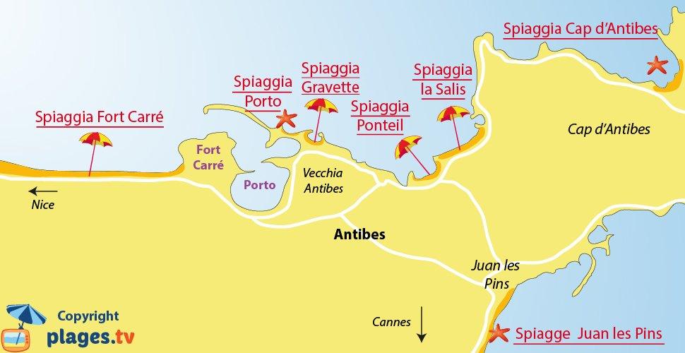 Mappa spiagge di Antibes - Francia