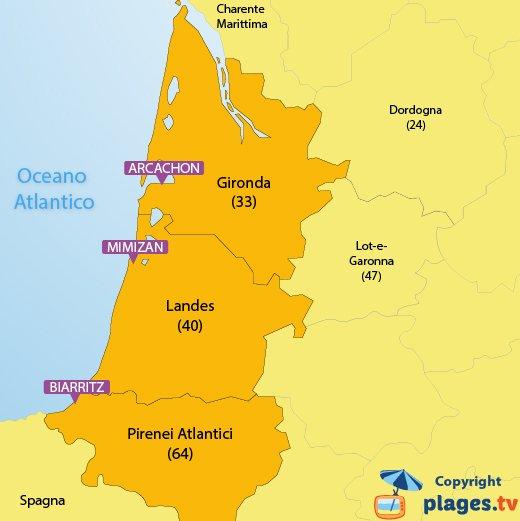 Mappa spiagge e località balneari in Aquitania - Francia