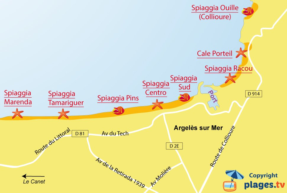 Mappa spiagge a Argeles sur Mer - Francia