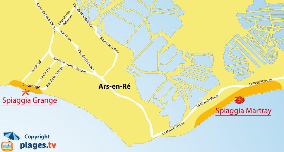 Mappa spiagge Ars en Ré - Francia
