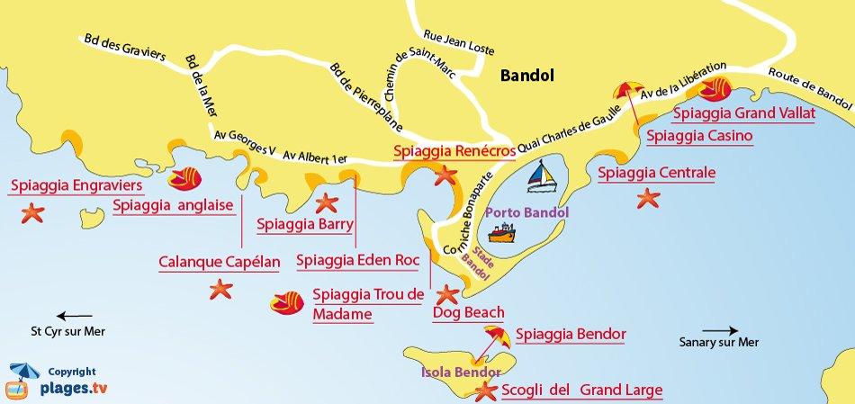 Mappa spiagge di Bandol - Francia