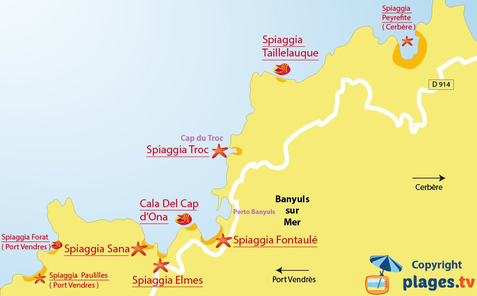 Mappa spiagge di Banyuls sur Mer in Francia