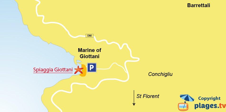 Mappa spiagge di Barrettali in Corsica