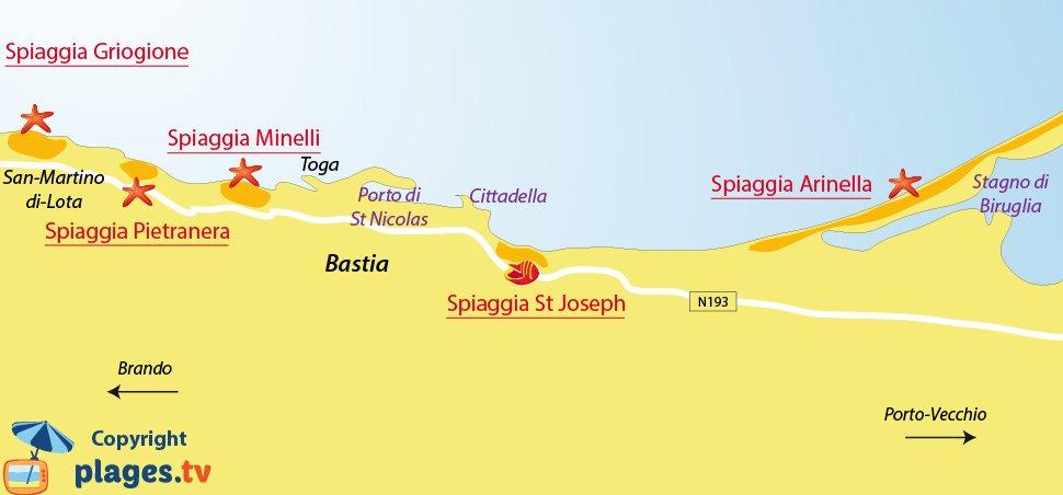 Mappa spiagge di Bastia - Corsica