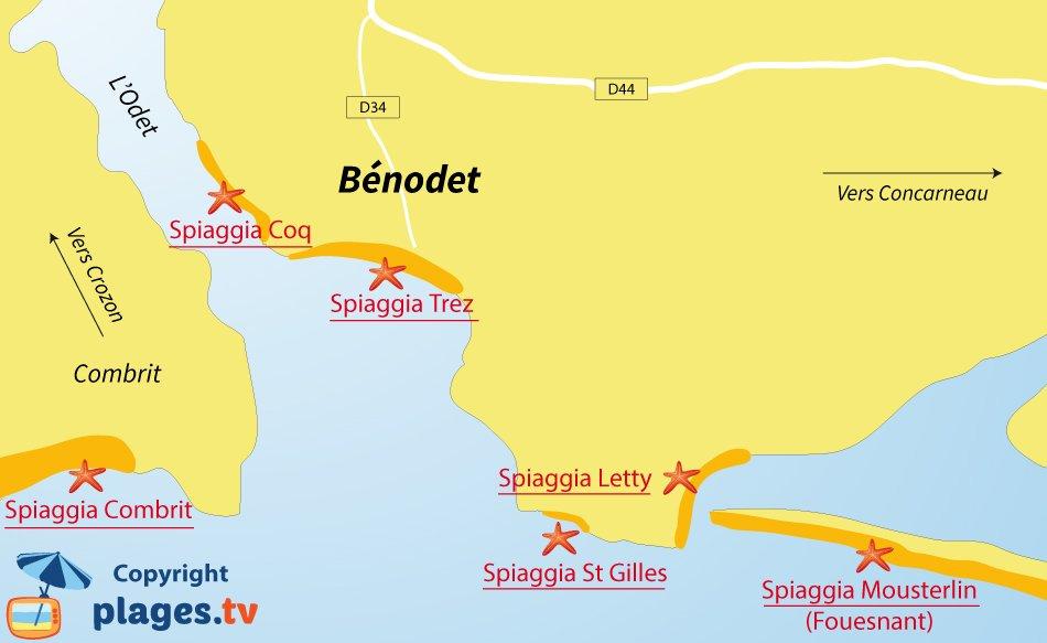 Mappa spiagge di Benodet in Francia