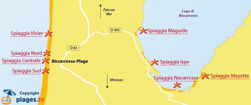 Mappa spiagge di Biscarrosse - Francia