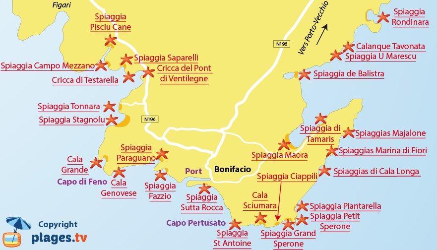 Mappa spiagge di Bonifacio - Corsica