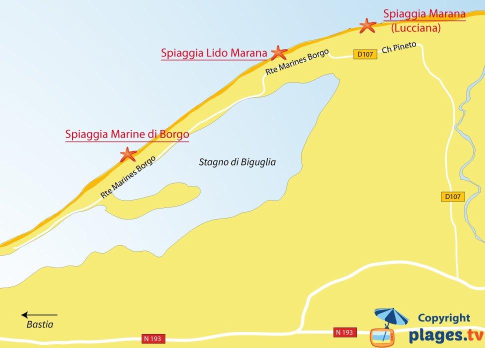 Mappa spiagge di Borgo in Corsica