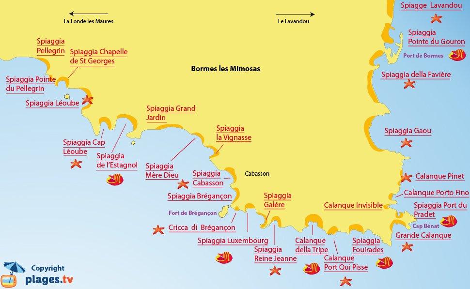 Mappa - Spiagge di Bormes les Mimosas - Francia