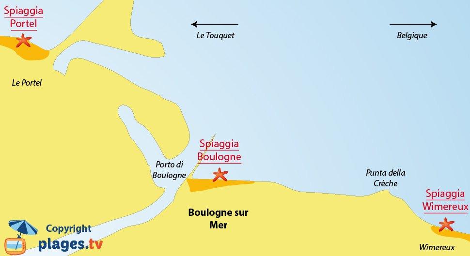 Mappa spiagge di Boulogne sur Mer in Francia