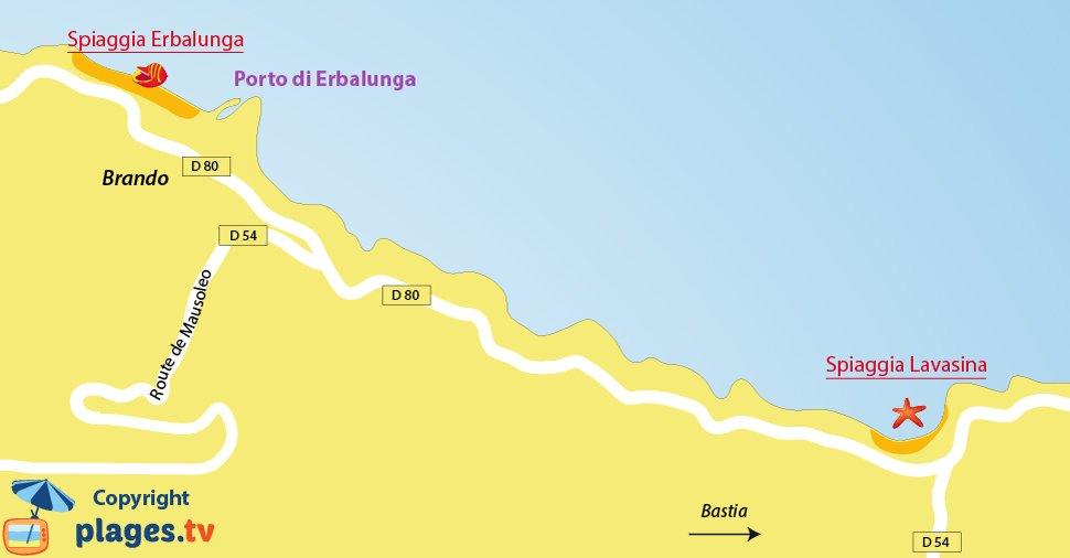 Mappa spiagge di Brando in Corsica