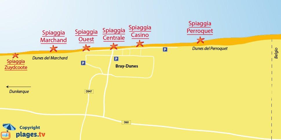 Mappa spiagge di Bray-Dunes in Francia