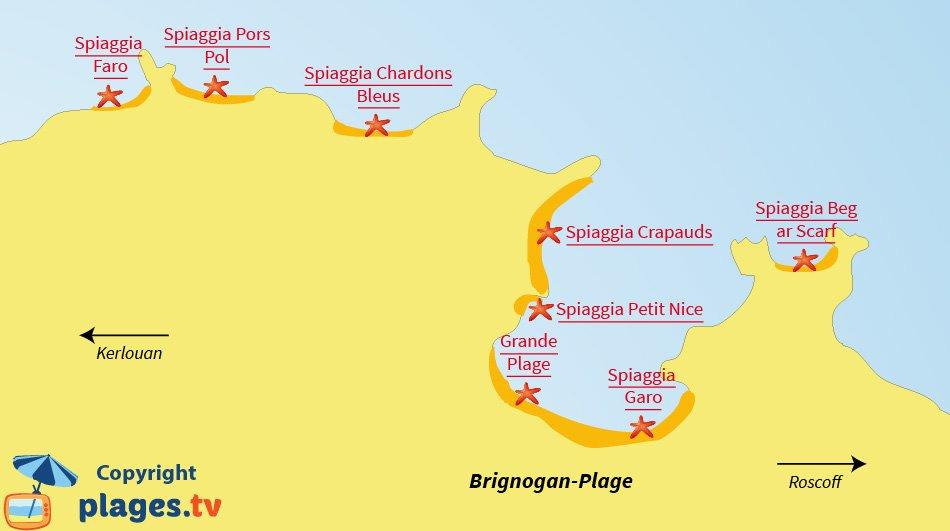 Mappa spiagge Brignogan - Francia