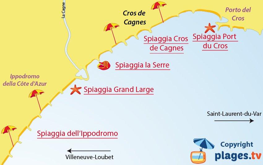 Mappa spiagge di Cagnes sur Mer in Francia
