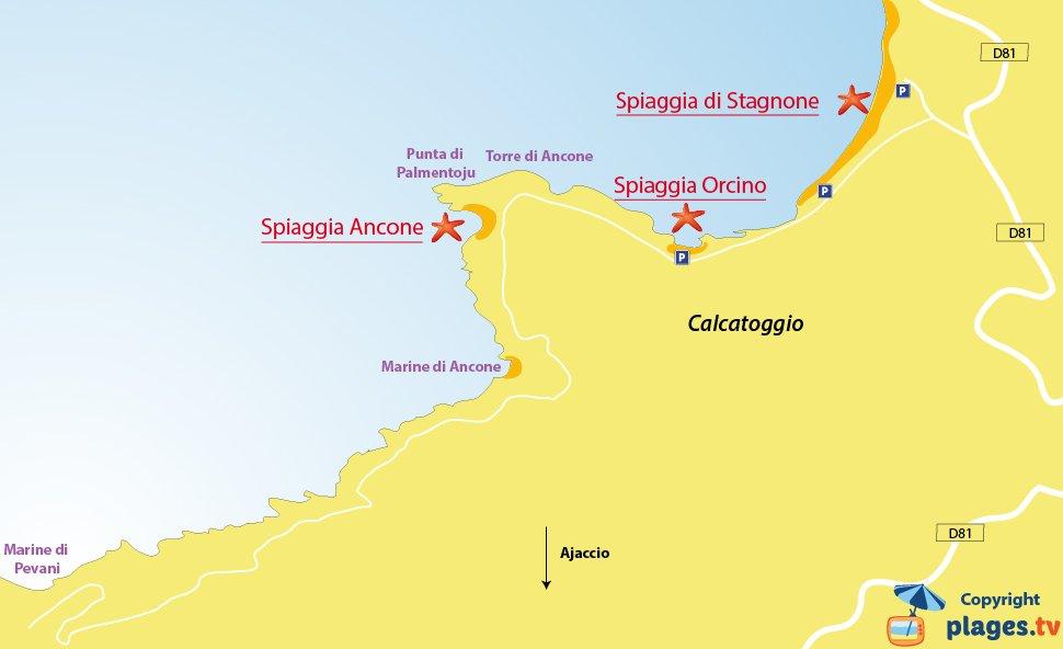 Mappa spiagge di Calcatoggio in Corsica