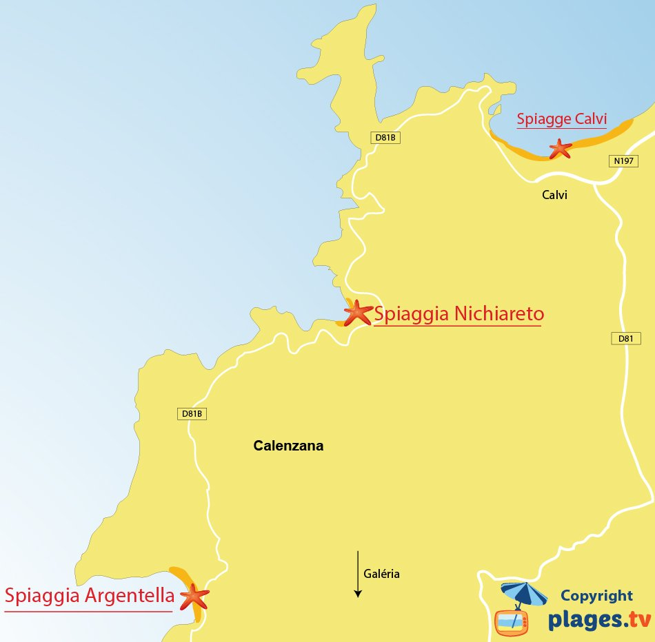 Mappa spiagge di Calenzana in Corsica