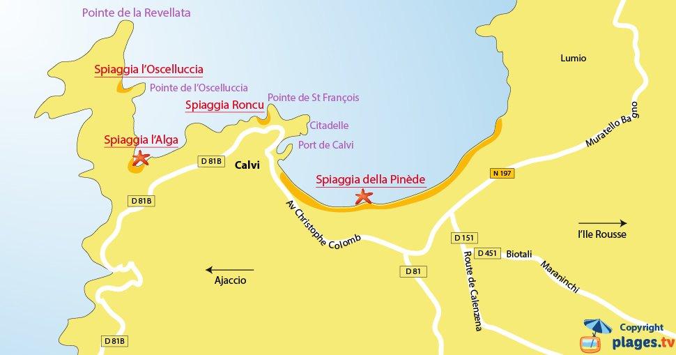 Mappa spiagge di Calvi - Corsica
