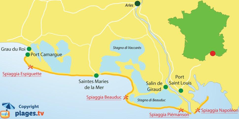 Mappa spiagge di Camargue in Francia