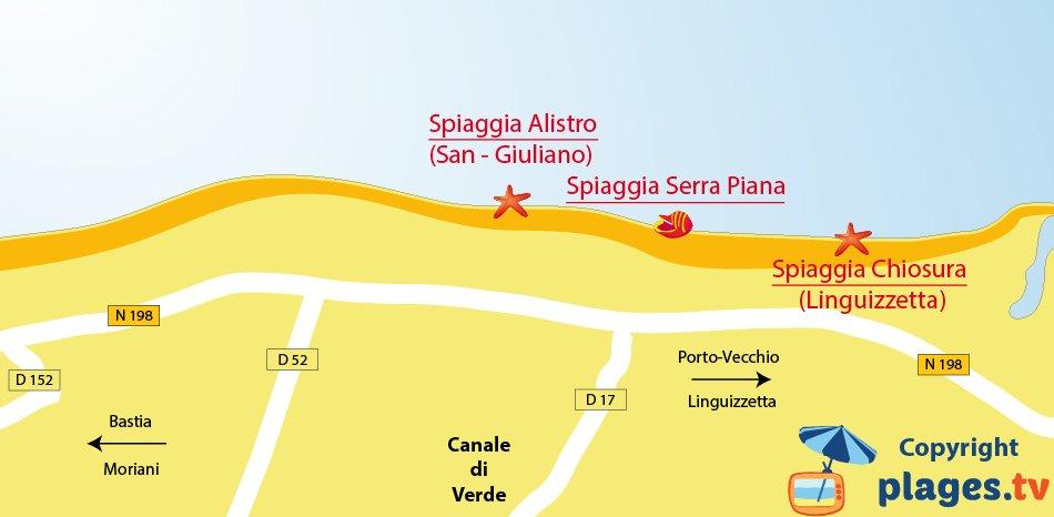 Mappa spiaggia di Canale di Verde in Corsica