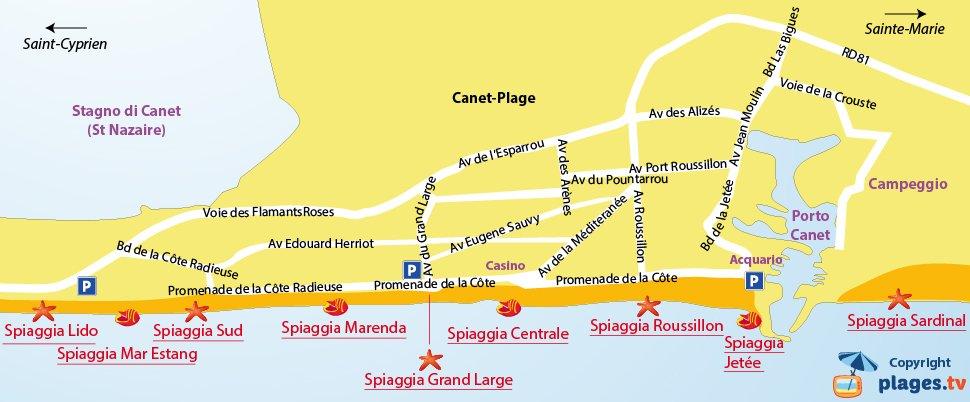Mappa spiagge di Canet en Roussillon - Francia