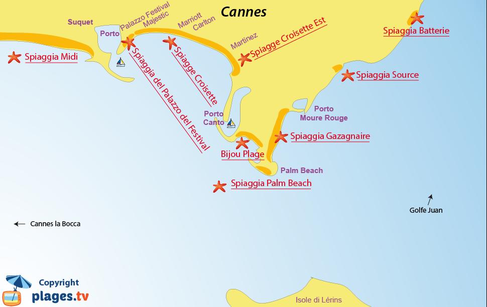 Mappa spiagge di Cannes - Francia