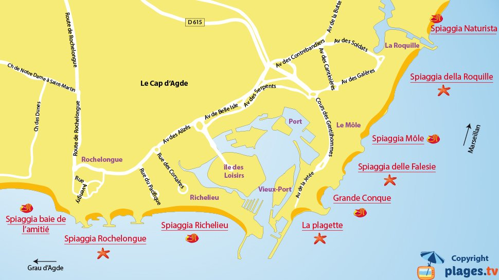 Mappa spiagge del Cap d'Agde - Francia