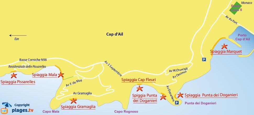 Mappa spiagge Cap d'Ail - Francia