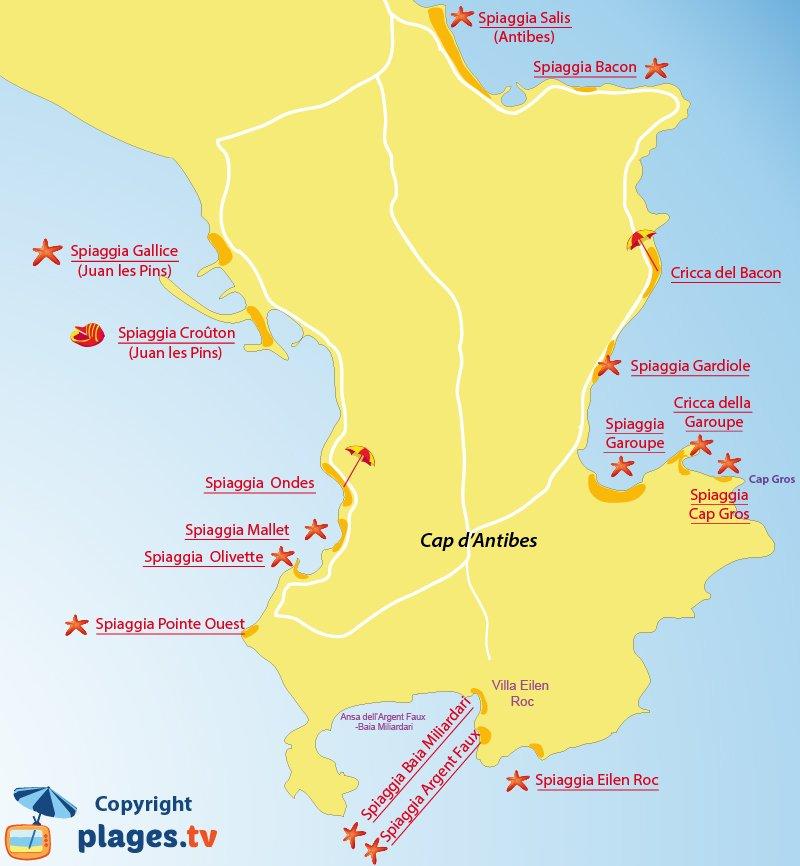 Mappa spiagge del Cap Antibes in Francia