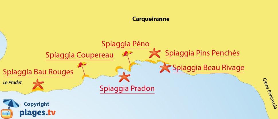Mappa spiagge di Carqueiranne in Francia