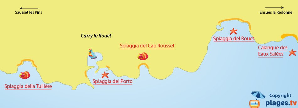 Mappa spiagge di Carry le Rouet - Francia