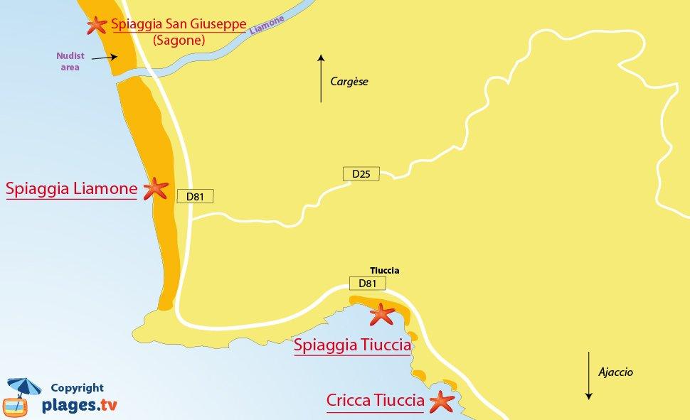 Mappa spiagge di Casaglione in Corsica - Tiuccia