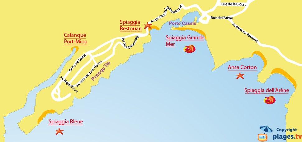 Mappa spiagge di Cassis - Francia