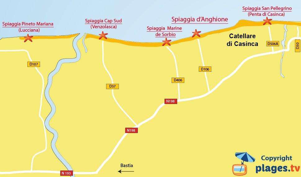 Mappa spiagge di Castellare di Casinca in Corsica