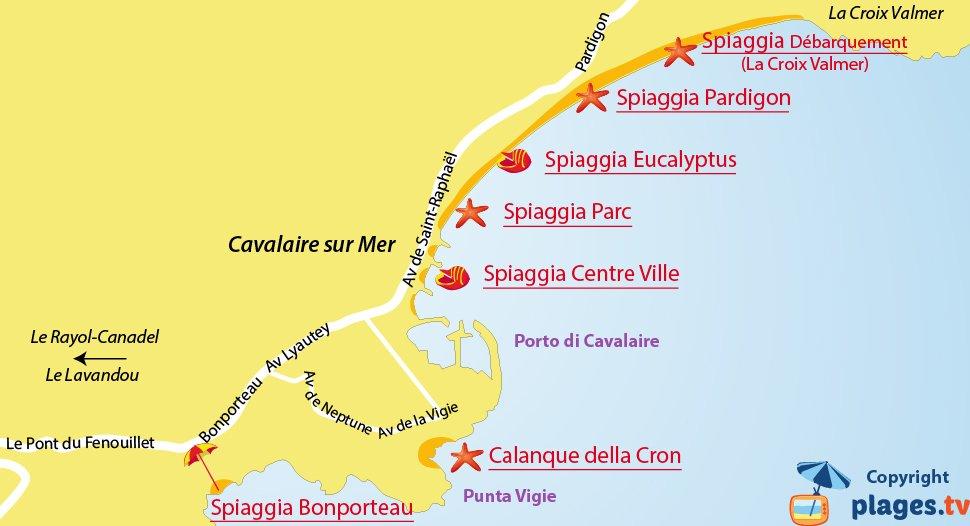 Mappa spiagge di Cavalaire sur Mer - Francia