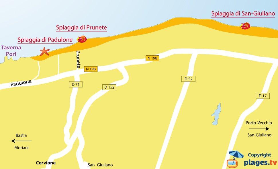 Mappa spiagge di Cervione in Corsica