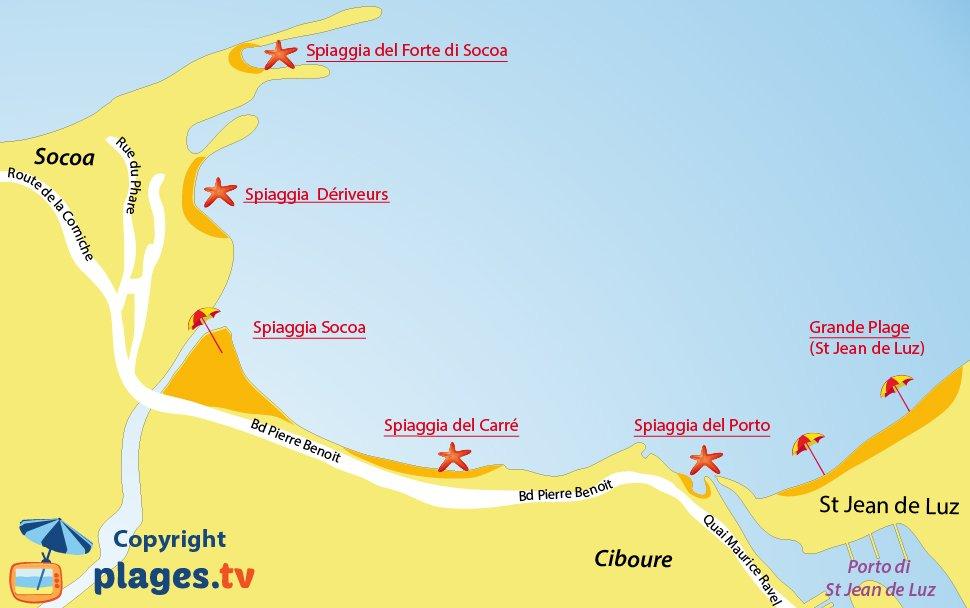 Mappa spiagge di Ciboure in Francia
