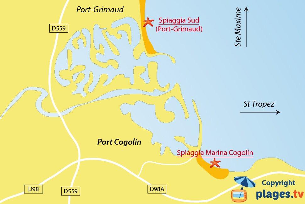 Mappa spiagge di Cogolin in Francia