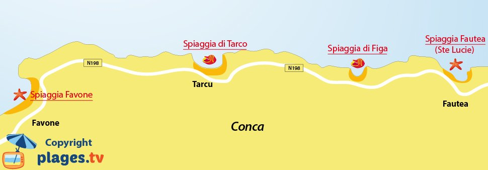 Mappa spiagge di Conca in Corsica
