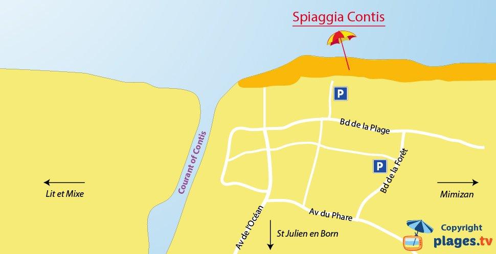 Mappa spiagge di Contis in Francia