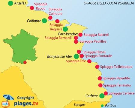 Mappa spiagge della Costa Vermiglia in Francia