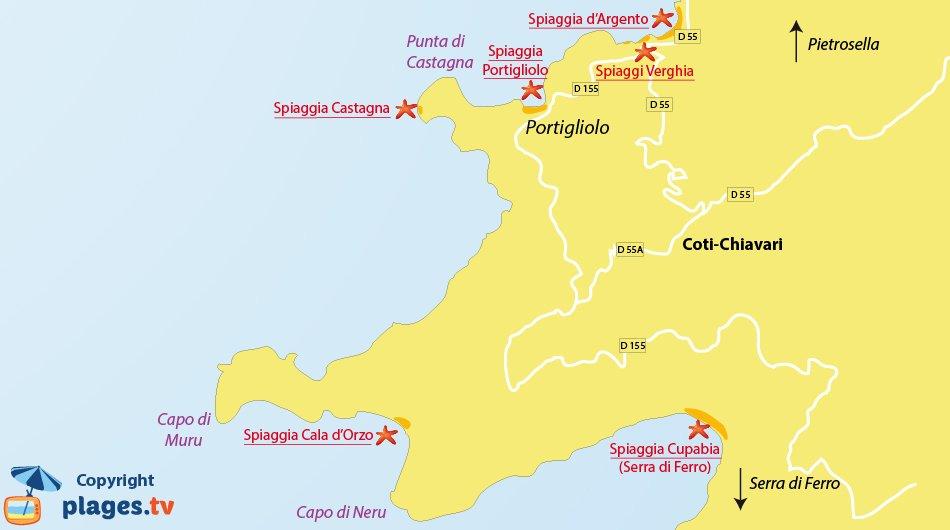 Mappa spiagge di Coti-Chiavari in Corsica