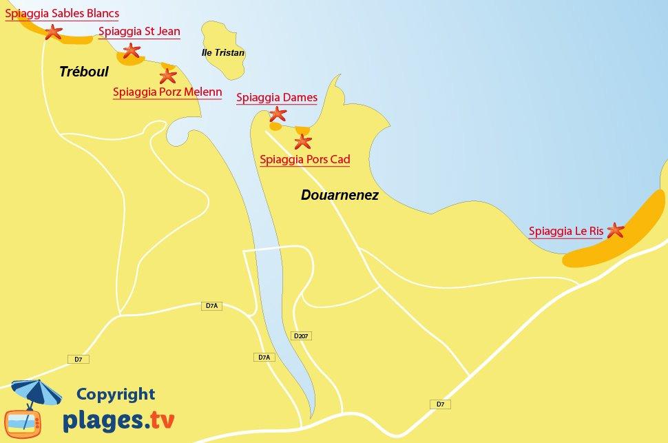 Mappa spiagge di Douarnenez in Francia - Bretagna