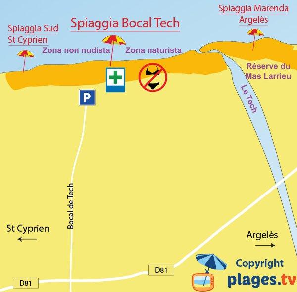 Mappa spiagge di Elne, Saint-Cyprien e Argelès - Francia