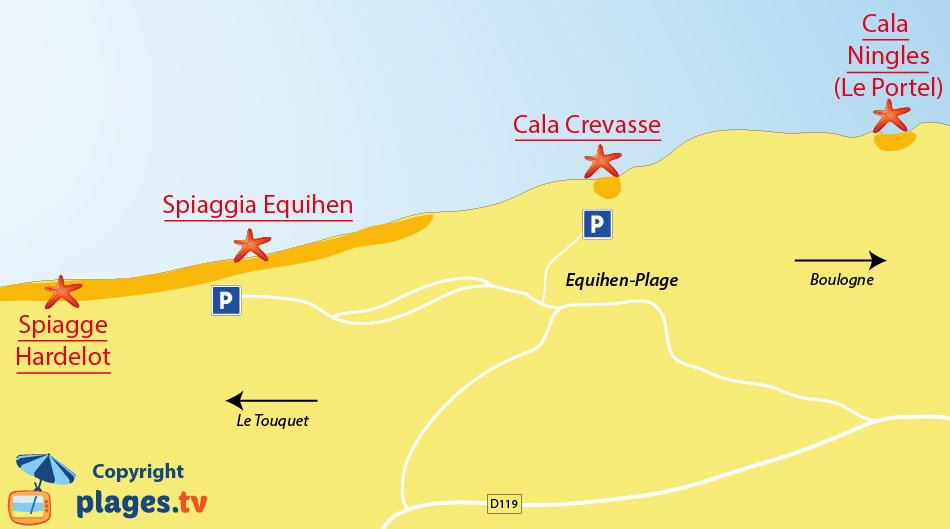 Mappa spiagge di Equihen - Francia